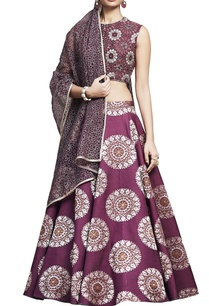 plum-banarasi-silk-embroidered-lehenga-set