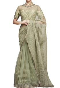 green-sari-with-embroidered-blouse