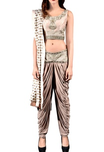 dusky-beige-embroidered-blouse-with-cowl-trousers-dupatta