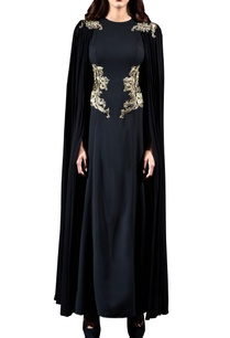 black-embellished-gown-with-cape