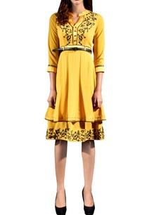 yellow-georgette-layered-dress
