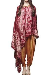 maroon-shibori-cape-with-dhoti-pants