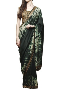 bottle-green-shibori-sari-with-blouse