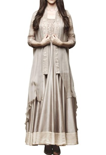grey-embroidered-anarkali-with-cape