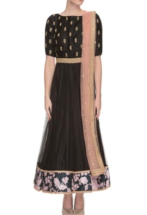 black-flower-print-anarkali-with-dupatta