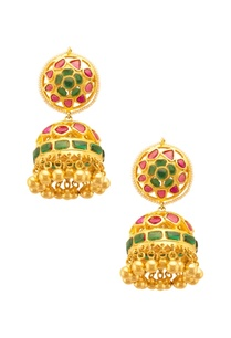 traditional-red-green-floral-jhumkas