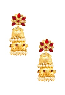 gold-red-floral-jhumkas