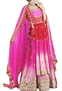 red-pink-shaded-embroidered-lehenga-set