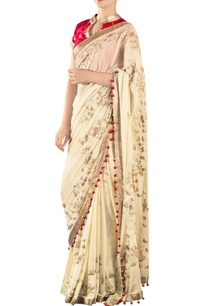 fawn-sari-with-applique-work-a-red-blouse