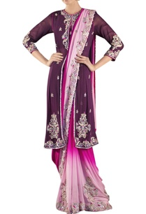 wine-pink-shaded-sari-with-jacket-blouse