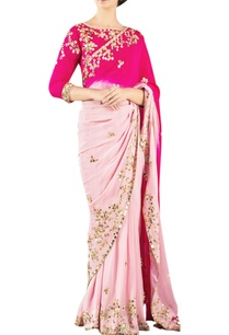 red-salmon-pink-embroidered-sari-with-blouse