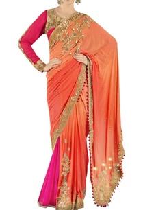 orange-embroidered-half-sari-with-skirt-blouse