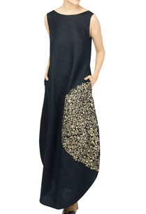 black-embroidered-cocoon-dress