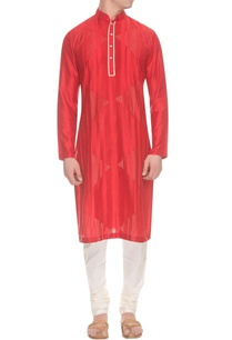 red-beige-pintuck-striped-kurta