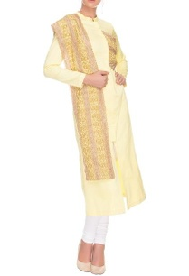lemon-yellow-chinese-collar-and-bordered-dupatta-set
