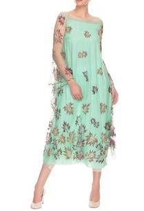 blue-maple-motif-dress