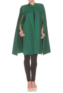 green-black-bead-embellished-cape-jacket