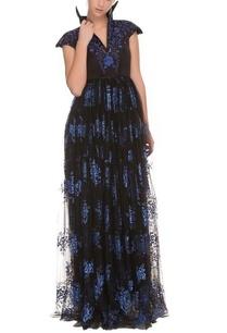 black-blue-floral-work-dress
