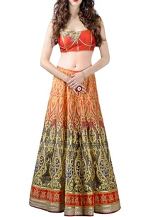 coral-grey-lehenga-printed-choli-set