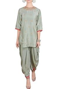 sage-green-short-kurta-and-dhoti-pants