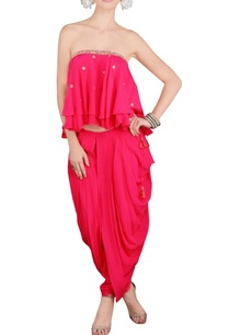 pink-embroidered-tube-and-dhoti-pants