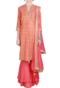 coral-printed-sequin-embroidered-kurta-set