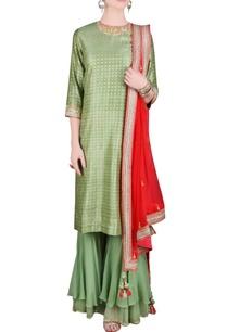 green-orange-printed-sequin-embroidered-kurta-set