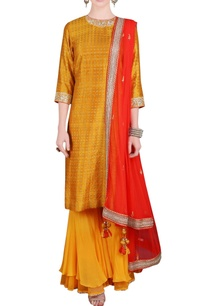 yellow-orange-printed-sequin-embroidered-kurta-set