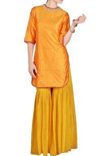 mango-yellow-embroidered-jacket-cut-kurta-gharara
