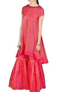 red-printed-kurta-gharara