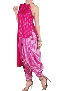 shaded-pink-short-kurta-and-dhoti-pants-set