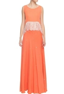 coral-lehenga-fringed-top
