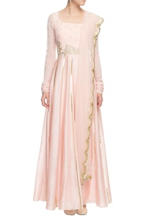 powder-pink-gota-line-anarkali-with-dupatta