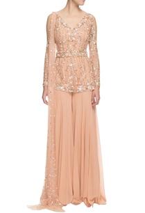 beige-sequin-embellished-kurta-set