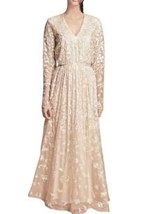 beige-floral-applique-dress