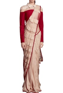 beige-red-sari-with-collared-blouse