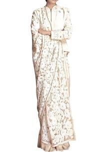 white-floral-applique-sari-with-jacket-blouse