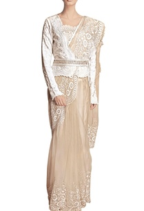 beige-floral-work-sari-with-a-jacket-blouse