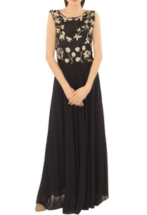 black-yoke-embellished-gown