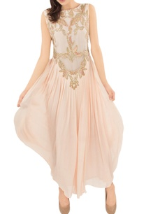 blush-pink-embellished-pleated-gown