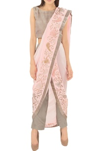 taupe-pant-set-with-blush-pink-embroidered-sari