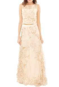 champagne-embroidered-crop-top-with-skirt