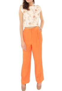 butter-yellow-applique-work-crop-top-with-orange-trousers