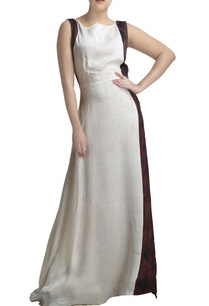 white-linen-gown-with-printed-side-panels