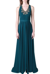 peacock-blue-embellished-jersey-gown