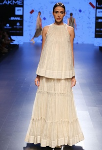 off-white-ruched-flared-sheer-top