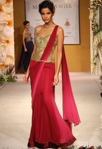 deep-pink-gold-embellished-draped-sari