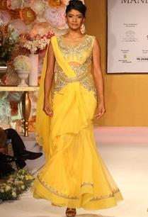 bright-yellow-gold-embroidered-draped-sari
