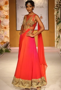 pink-orange-draped-sari-with-embroidered-bodice