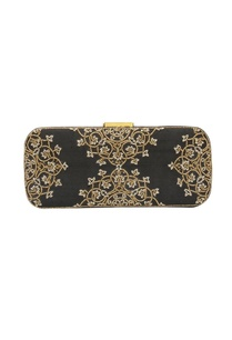 black-bead-work-embellished-box-clutch